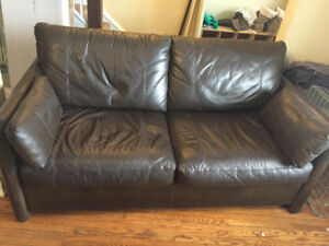 Brown Leather Pullout Couch