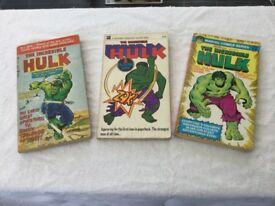 HULK 1960's/70's. 3 VERY RARE PAPERBACK BOOKS.