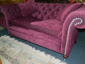 Chesterfield Sofa 2 seater deep button holed purple fabric