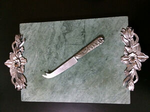 Seagull pewter cheese board w/cheese knife