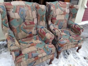 Set Of Two Book Themed Wing Back Queen Ann Arm Chairs