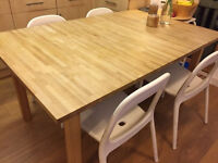 dining table ikea bjorna in real wood with 6 fabric chairs