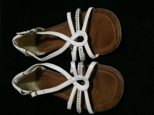 SANDLES , white with ankle  buckle, size 6