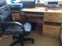 Office desk chair and wall shelves