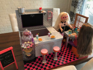 OUR GENERATION Doll Diner with 2 DOLLS!!!!