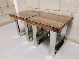 Rustic Railway Sleeper Modern Industrial Lamp Side/End Table