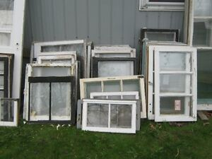 55 OLD WOODEN WINDOWS  20 EACH TRURO 3 DOORS   $50 EACH
