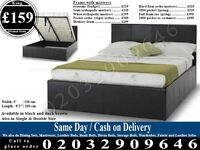 STRONG PU Leather Storage Frame Double King, Single Bedding Black Brown Sherman