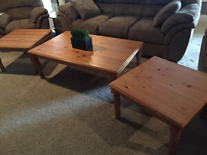 3 piece Coffee Table Set with 2 end tables