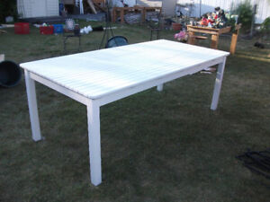 """White wood picnic table 39"""" by 80"""" by 29"""" high only $100"""