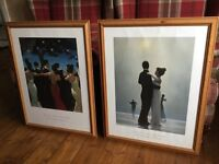 Pair of large Jack Vettriano framed pictures in pine frames