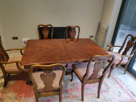 Table and chairs American cherry wood and cabinet