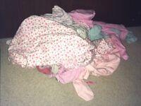 Baby girl pyjamas and babygrows bundle