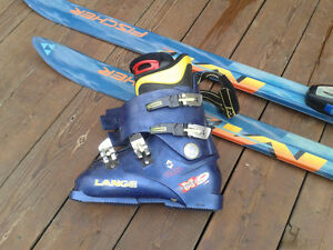305 mm Lange Boots and 185 Fischer skiis with  Salomon bindings