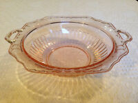 """Pink Depression Glass """"Mayfair/Open Rose"""" Plate and Bowl"""