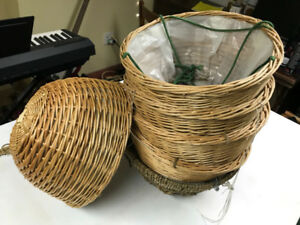 """Wicker Bamboo Hanging Plant Baskets - 12"""" diameter by 6"""" high"""