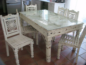ANTIQUE DINING TABLE-RAJASTHAN INDIA WHITE DISTRESSED