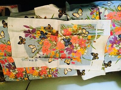 ON Reduced in price on the market ! Vintage NEW Kitchen/Tea Towel 60/70s SIGNED Bob Goryl BUTTERFLY FLOWER