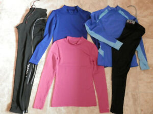 3 tops, 2 pairs of leggings (Under Armour, Helly Hansen)