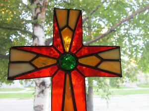 Colorful - Vintage - Stained Glass - Window Hanging  Cross