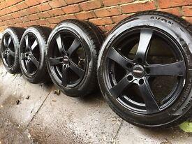 "As New 16"" Gloss black VW Caddy alloy wheels +winter tyres 5x112 Golf Touran Audi A3"