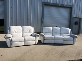 White and grey leather 3+2 recliner sofas couches suite 🚚🚚