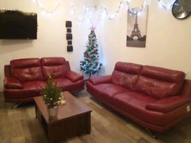 Harveys samara burgundy genuine leather 3+2 seater sofas