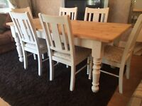 REDUCED - Amazing Rustic 6ft Shabby Chic Chunky Pine Table and 6 Chairs