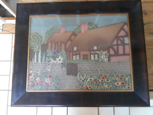 An Old Antique Cottage Cross Stitch w/ Old beautiful frame