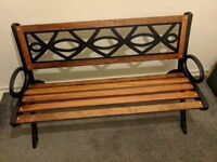 Garden bench, restored with quality wood, cast iron