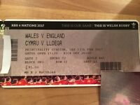 2 x RBS 6 NATIONS 2017 WALES V ENGLAND TICKETS - SEATED TOGETHER