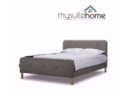 MEL Brayden Fabric Double/Queen Size Contemporary Bed