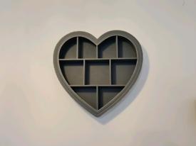 Next wooden heart shadow box shelf unit wall art