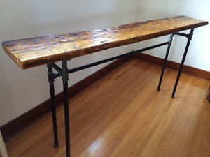 Barn wood and steel pipe console tables and towel racks