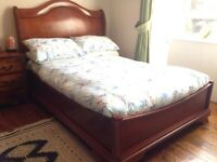 Beautiful hardwood wooden double frame with mattress (sleigh bed)
