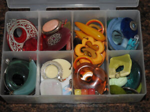 Case of PENDANTS - mostly beautiful colourful plastic pieces