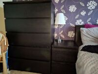 2 x Malm Chest of 6 drawers & matching bed side 2 drawers