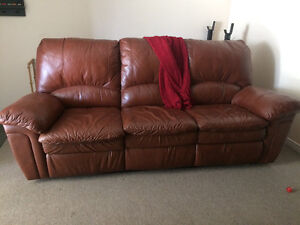 Lazy Boy leather reclining couch and chair