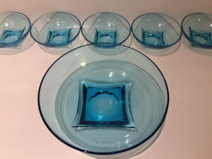 6 BOLS EN VERRE TURQUOISE RÉTRO VINTAGE MID CENTURY GLASS BOWLS