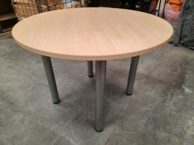 Round pine effect meeting table 100cm dia x 72cm