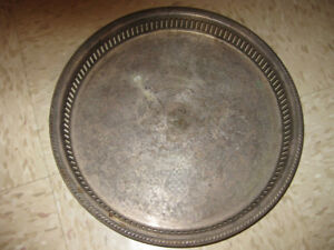 Large mid century round silver plated drinks tray