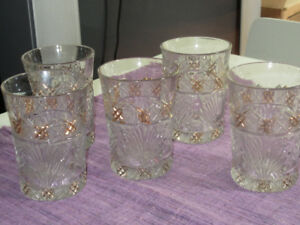 5 Vintage cut glass tumblers - really lovely