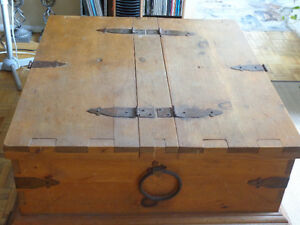 antique solid wood chest with two storage compartments