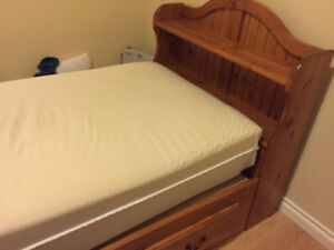Captain's bed with twin size mattress