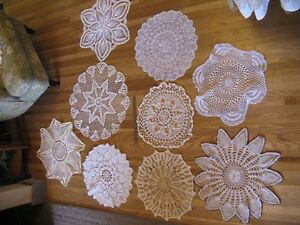 9 Assorted Large Doilies - great for vintage wedding decor.
