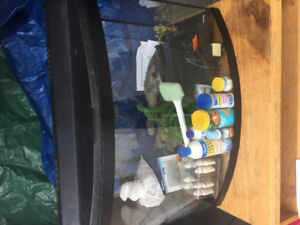42 Gallon Curved Fish Tank with accessories