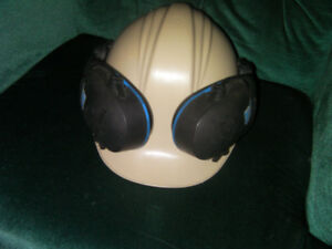 Beige hard safety hat with liner and ear protection