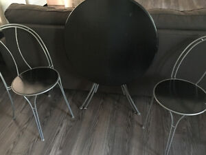 Small Black Round Table Set for Sale