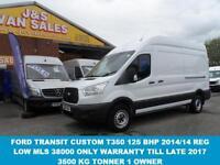 2014 14 FORD TRANSIT T350 125 BHP 3500 KG TONNER NEW CUSTOM 2014/14 REG ONLY 380