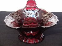 Vintage Red Glass Dish
